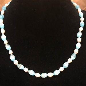 Genuine Dainty Pearl and Blue Cat's Eye Necklace